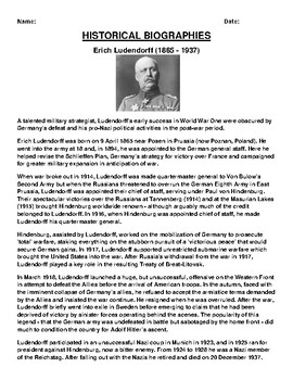 Erich Ludendorff Biography Article and (3) Assignments