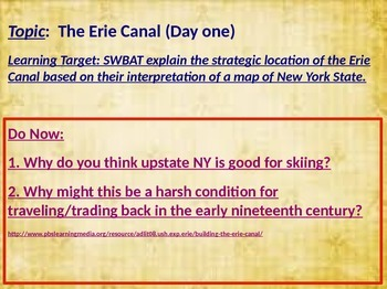 Erie Canal Lesson Part One