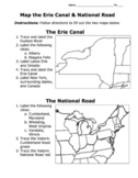 Erie Canal & National Road Map Activity / American System