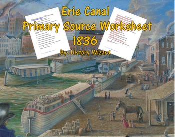 Erie Canal Primary Source Worksheet 1836