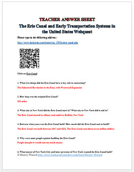 Erie Canal and Transportation Systems Webquest