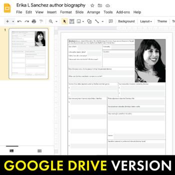Erika L. Sánchez Author Study Worksheet, Easy Biography Activity, CCSS