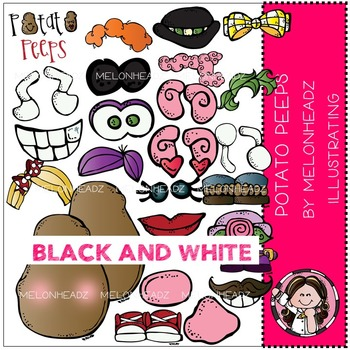 Potato Peeps clip art - BLACK AND WHITE- by Melonheadz