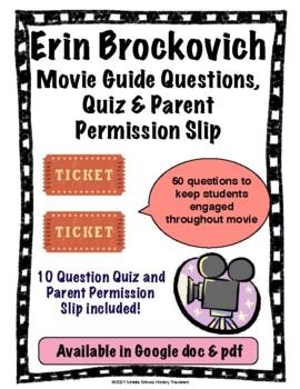 Erin Brockovich Bundle: Movie Guide Questions, Parent Permission Slip & Quiz