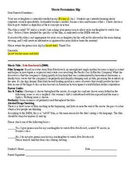 Erin Brockovich - Movie Permission Slip