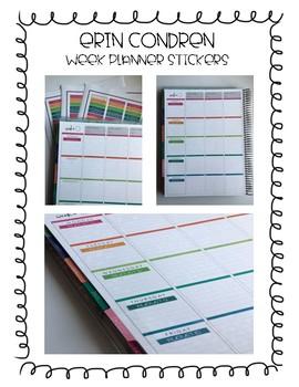Erin Condren/Happy Planner - Weekly spread dates