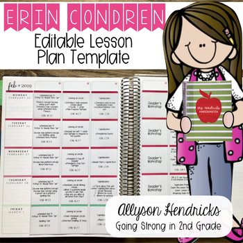 Erin Condren Lesson Planner Template Editable - PDF, MS Word, Mac Pages Versions