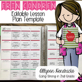 Erin Condren Lesson Planner Template Editable - PDF, MS Wo