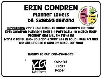 Erin Condren Planner Labels- Kraft papers