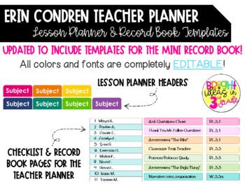 EC Teacher Planner EDITABLE Headers & Record Book Labels