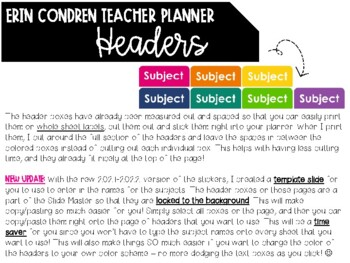 EC Teacher Planner EDITABLE Headers, Lesson Plan Templates & Record Book Labels