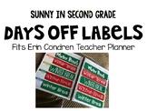 Erin Condren Teacher Planner Days Off Labels