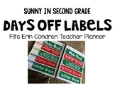 Erin Condren Teacher Planner Days Off Labels