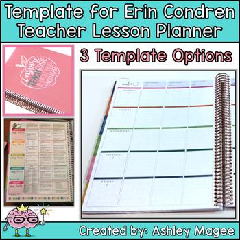Erin Condren Teacher Planner Lesson Plan Template by Mrs Magee ...