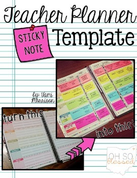 teacher lesson planner template with sticky notes tpt