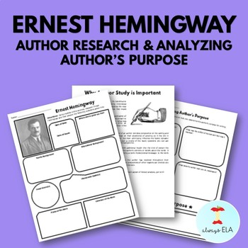 Ernest Hemingway - Author Study Worksheet, Author's Purpose, Author Research