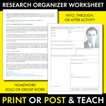 Ernest Hemingway Author Study Worksheet, Easy Biography Activity, CCSS