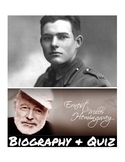 Ernest Hemingway Biography & 40 Mult. Choice Ques. Quiz W/