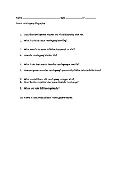 Ernest Hemingway Biography Questions