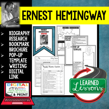 Ernest Hemingway Biography Research, Bookmark Brochure, Pop-Up, Writing, Google