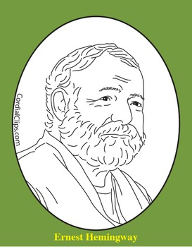 Ernest Hemingway Clip Art, Coloring Page, or Mini-Poster