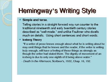Ernest Hemingway PPT 25 slides:  Works and Style