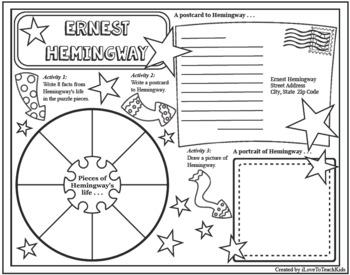 Ernest Hemingway Timeline Poster Acrostic Poem Activity with Reading Passage