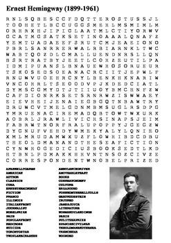 Ernest Hemingway Word Search