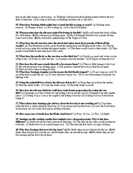 Ernest Hemingway's The Old Man and the Sea Final Exam (w/ Answer KEY)