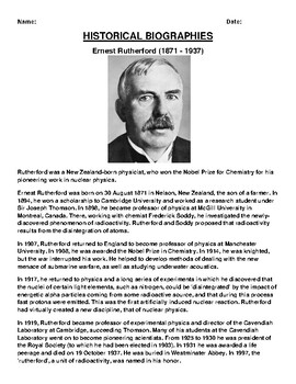 Ernest Rutherford  Biography Article and (3) Assignments