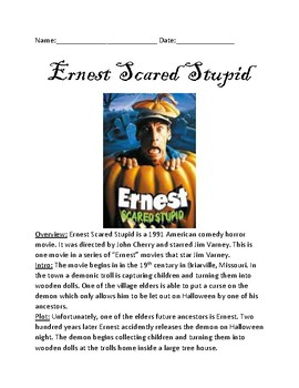 Ernest Scared Stupid - Movie review facts information lesson review questions