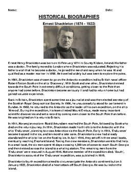 Ernest Shackleton Biography Article and (3) Assignments