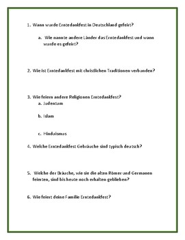 Erntedankfest - German Reading Article and Student Guide