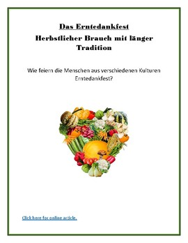 (EUROPE GEOGRAPHY) Erntedankfest - German Reading Article and Student Guide