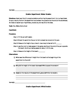 Erosion Activity Worksheet