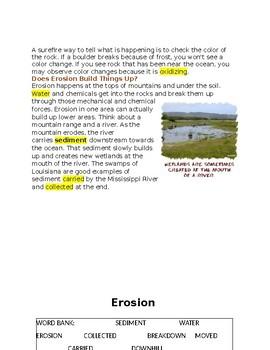 Erosion -- CLOZE Reading