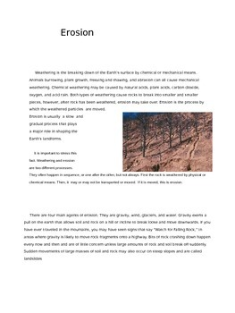 Erosion Content Reading with Activities and Assessments