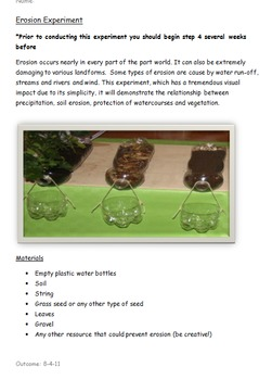 Erosion Experiment Inquiry Based Learning Common Core NO PREP
