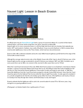 Erosion Literacy and Engineering Activity Focused on Cape Cod (NGSS