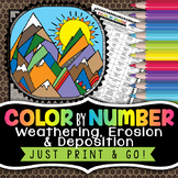 Weathering, Erosion & Deposition Color by Number - Science