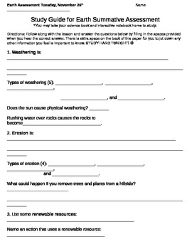 Erosion, Weathering, Rocks, Minerals, Resources Review Study Guide