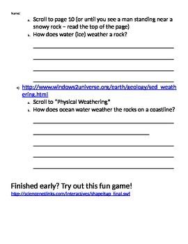 Erosion & Weathering Webquest