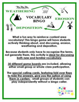 Erosion, Weathering and Deposition Vocabulary Bingo