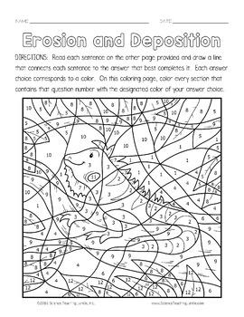 Erosion and Deposition Color-by-Number (TEKS 7.8B, 4.7B, 5.7B)
