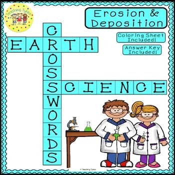 Erosion and Deposition Earth Science Crossword Puzzle Worksheet Middle School