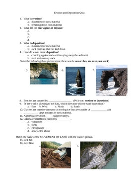 Erosion and Deposition Quiz with pictures
