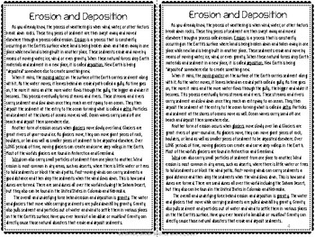 Erosion and Deposition Reading Comprehension Interactive Notebook