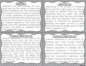 Erosion and Weathering Task Cards for Fluency and Comprehension