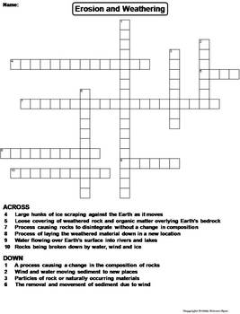 Weathering And Erosion Worksheet Crossword Puzzle