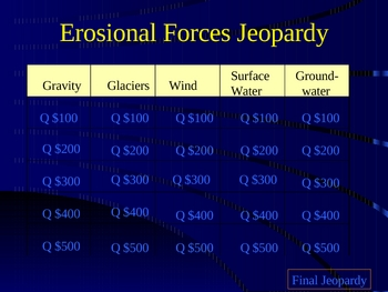 Erosional Forces Jeopardy